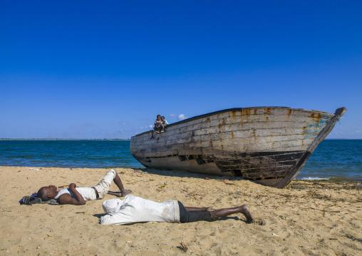 Men Sleeping On The Beach, Ilha de Mocambique, Nampula Province, Mozambique