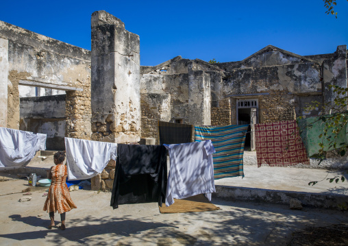 Laundry In The Ruins de An Old House, Ilha de Mocambique, Nampula Province, Mozambique