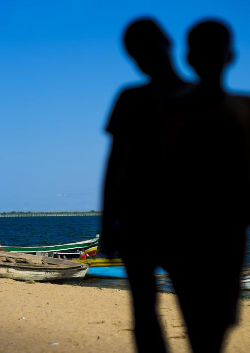 Kids Silhouettes On The Beach, Ilha de Mocambique, Nampula Province, Mozambique