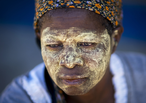 Woman With Muciro Face Mask, Island Of Mozambique, Nampula Province, Mozambique