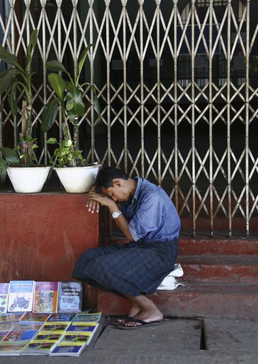 Street Seller Sleeping In Rangoon, Myanmar