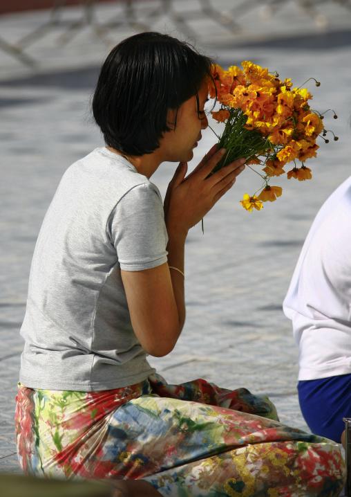 Woman Praying At Shwedagon Pagoda, Rangoon, Myanmar