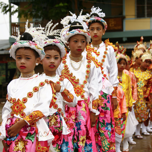 Young Girls During A Buddhist Ceremony In Mandalay, Myanmar