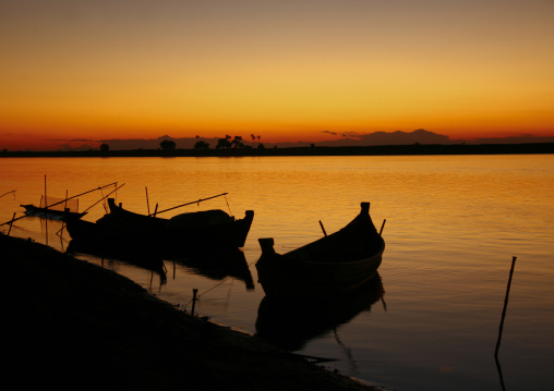 Boats On Irrawaddy River Banks, Myanmar