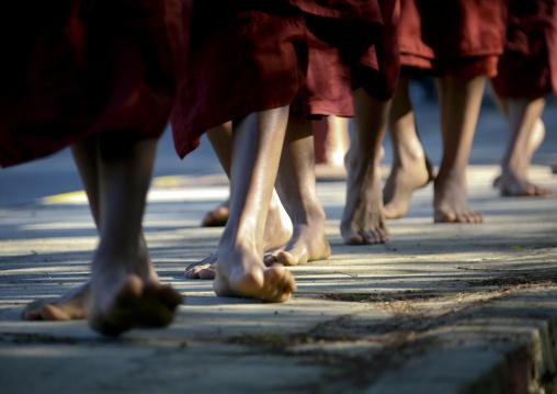 Buddhist Monks Feet In Bagan, Myanmar