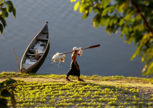 Fisherman On Irrawaddy River Banks, Myanmar