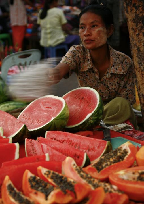 Woman Selling Fruits In Rangoon, Myanmar
