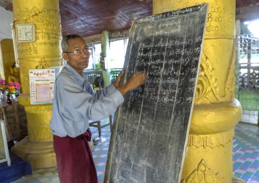 Man Writing On A Billboard Inside A Temple, Mrauk U, Myanmar