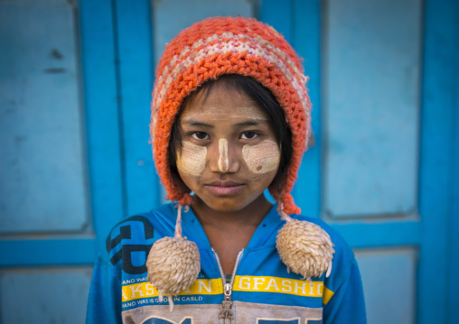 Young Chin Girl With Thanaka On The Face And A Woolly Hat, Mindat, Myanmar