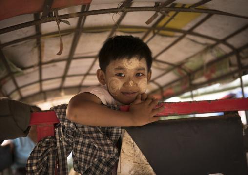 Child In A Rickshaw, Thandwe, Myanmar
