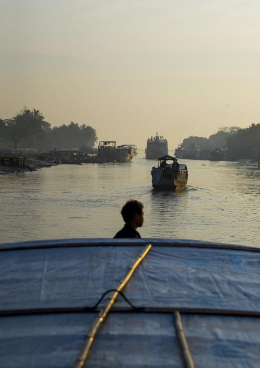 Boats In The Port, Sittwe, Myanmar