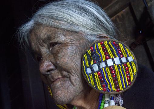 Yun Eian From Magan Tribe With Facial Tatoo, Mindat, Myanmar