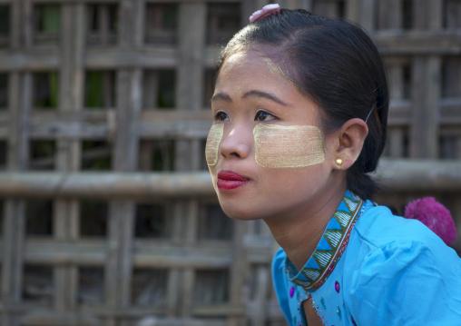 Girl With Thanaka On The Face, Mrauk U, Myanmar