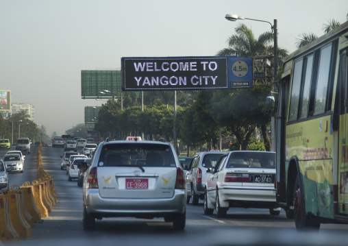 Traffic Jam In Early Morning, Yangon, Myanmar