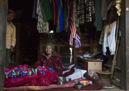 Chin Local Market Selling Womens Clothing, Mindat, Myanmar