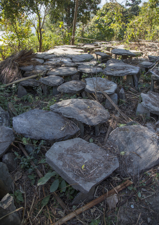Traditional Cemetery Made Of Stones In Chin Tribe, Mindat, Myanmar