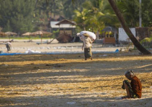 Old Woman On The Beach, Ngapali, Myanmar