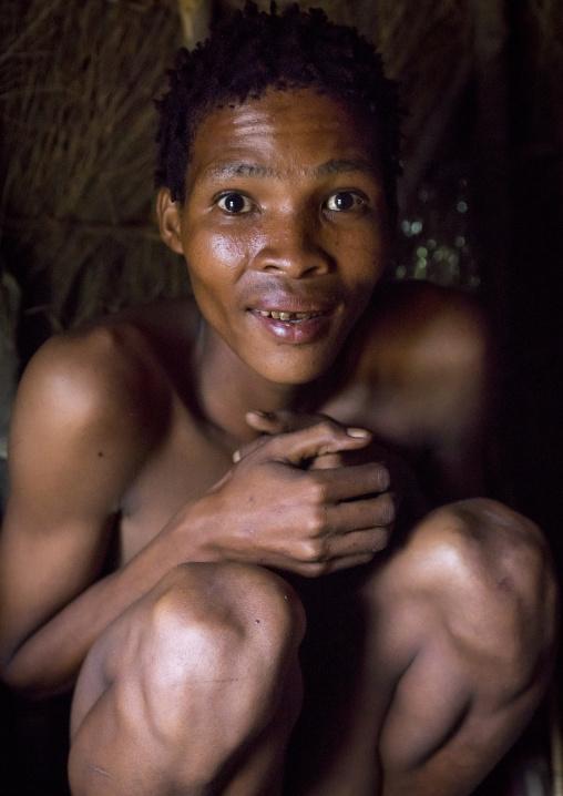 Bushman Inside His Hut, Tsumkwe, Namibia