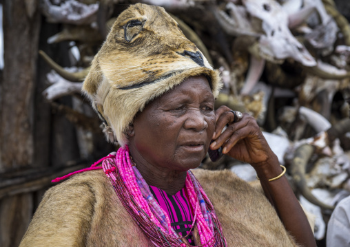 The Queen Of The Okwanyama On The Phone, Omhedi, Namibia