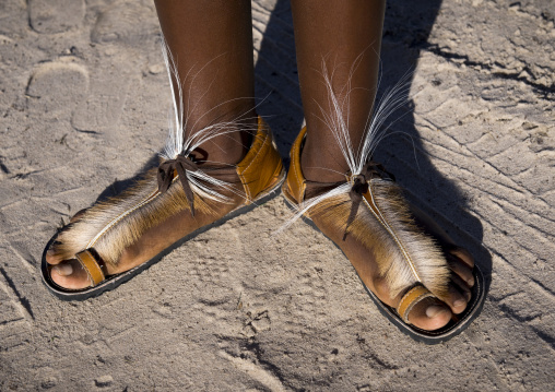 Shoes Made With Springbock Skin, Ongula, Namibia