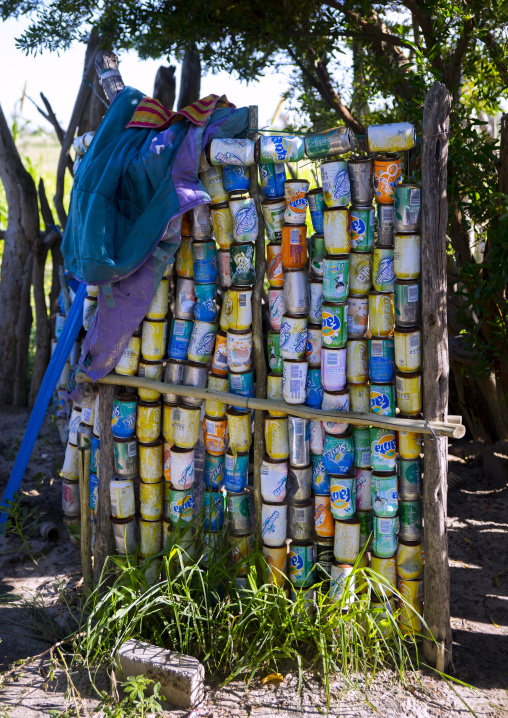 Shower Curtain Made With Cans, Ondangwa, Namibia