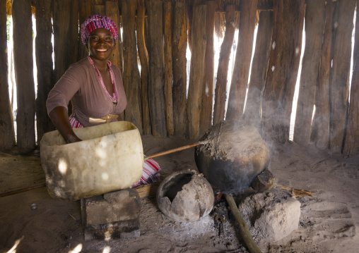 Ovambo Girl Making Ombike Alcohol, Ondangwa, Namibia