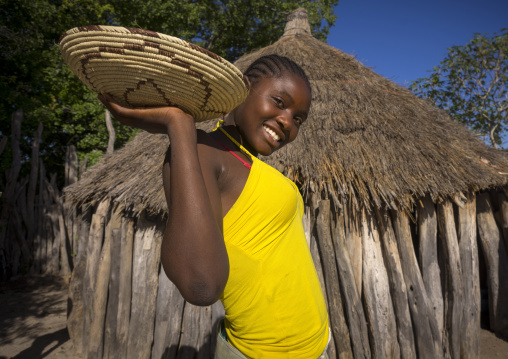 Ovambo Girl Holding A Basket Of Seeds, Ondangwa, Namibia