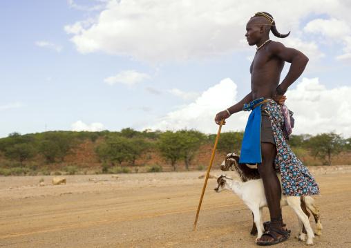Single Himba Man With One Plait, Epupa, Namibia
