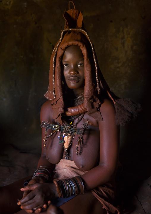 Woman Wearing Wedding Headdress In Himba Tribe, Epupa, Namibia