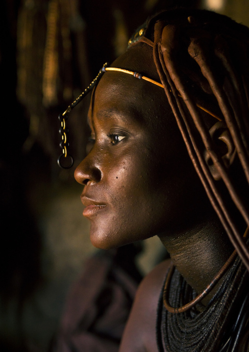 Himba Woman Inside Her Hut, Epupa, Namibia