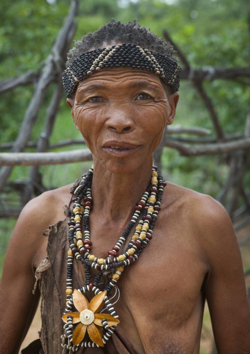 Bushman Woman With Beaded Traditional Headdress, Tsumkwe, Namibia