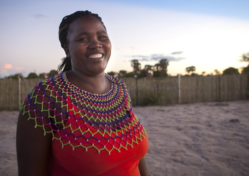 Ovambo Woman With Traditional Beaded Necklace, Ondangwa, Namibia