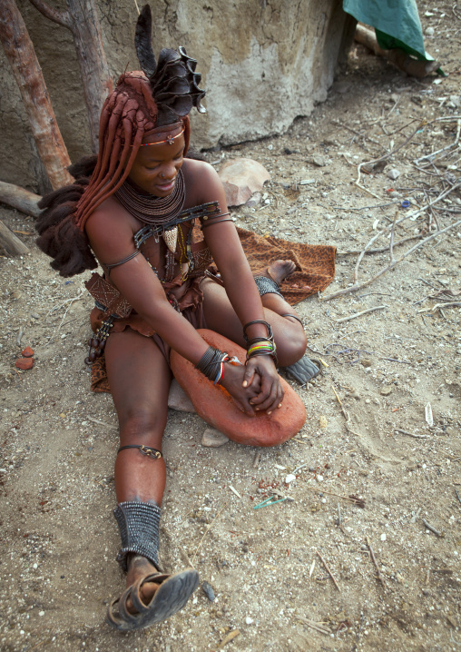 Himba Woman Making Otjize, Epupa, Namibia