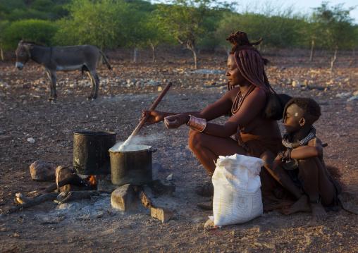 Himba Woman Cooking, Epupa, Namibia
