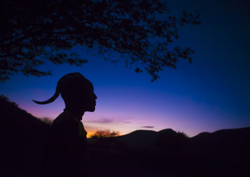Himba Man Silhouette In The Sunset, Epupa, Namibia