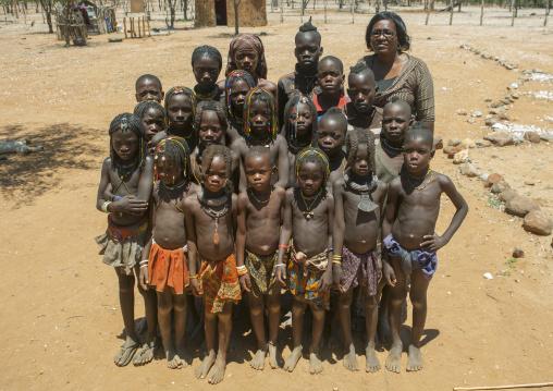 Mucawana And Himbas Pupils In A School, Ruacana, Namibia