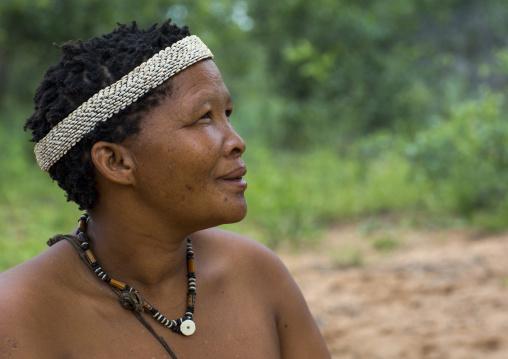 Bushman Woman With Ostrich Egg Traditional Headdress, Tsumkwe, Namibia
