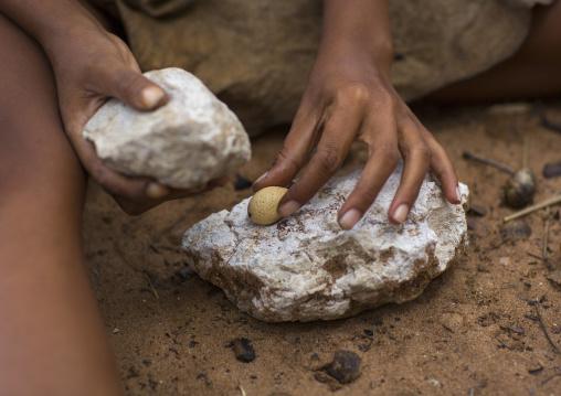 Bushman Woman Making Necklaces, Tsumkwe, Namibia