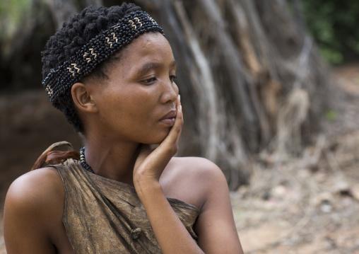 Bushman Woman With Beaded Traditional Headdress, Tsumkwe, Namibia, Tsumkwe, Namibia