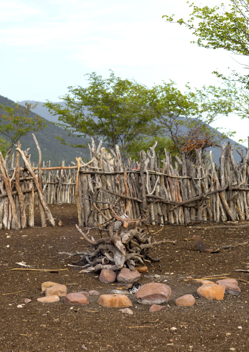 Fire In A Traditional Himba Village, Epupa, Namibia