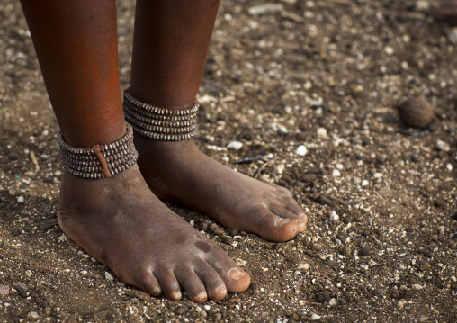 Himba Woman With Beaded Anklets To Protect Their Legs From Venomous Animal Bites, Epupa, Namibia