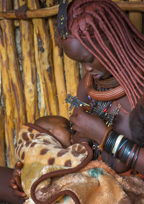 Himba Mother And Her Baby, Epupa, Namibia