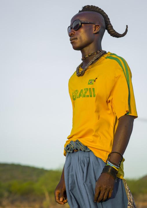 Himba Single Man With A Brazil Football Shirt, Epupa, Namibia
