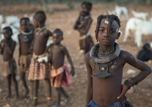Himba Girl With Her Friends, Epupa, Namibia