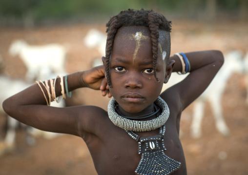 Young Himba Girl With Ethnic Hairstyle, Epupa, Namibia
