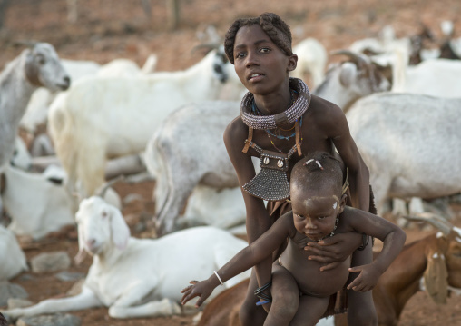 Himba Children With Ethnic Hairstyle, Epupa, Namibia