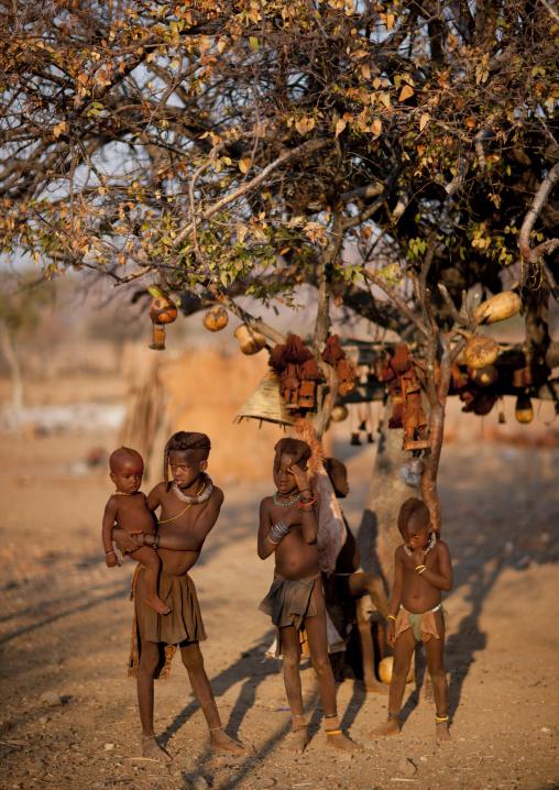 Himba Kids Under A Tree, Okapale Area, Namibia