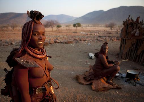 Himba Women Cooking, Okapale Area, Namibia