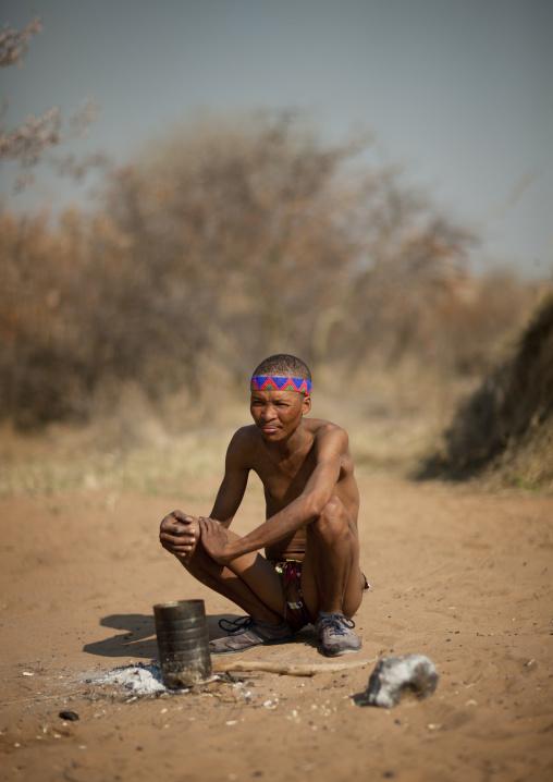 San Man Crouching, Namibia