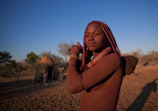 Himba Young Woman, Karihona Village, Ruacana Area, Namibia